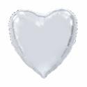 Kæmpe Hjerte folieballon Sølv 92 cm Hjerte Balloner
