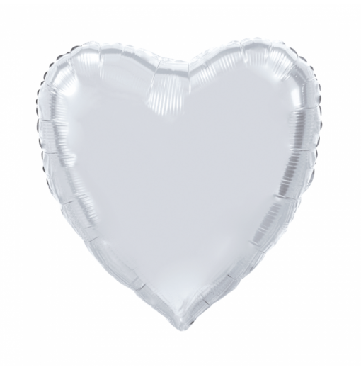 Kæmpe Hjerte folieballon Sølv 92 cm