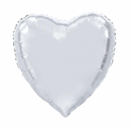 Kæmpe Hjerte folieballon Sølv 92 cm - 100