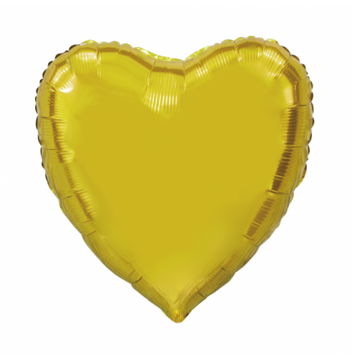 Kæmpe Hjerte folieballon Guld 92 cm