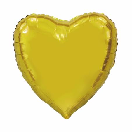 Kæmpe Hjerte folieballon Guld 92 cm - 102