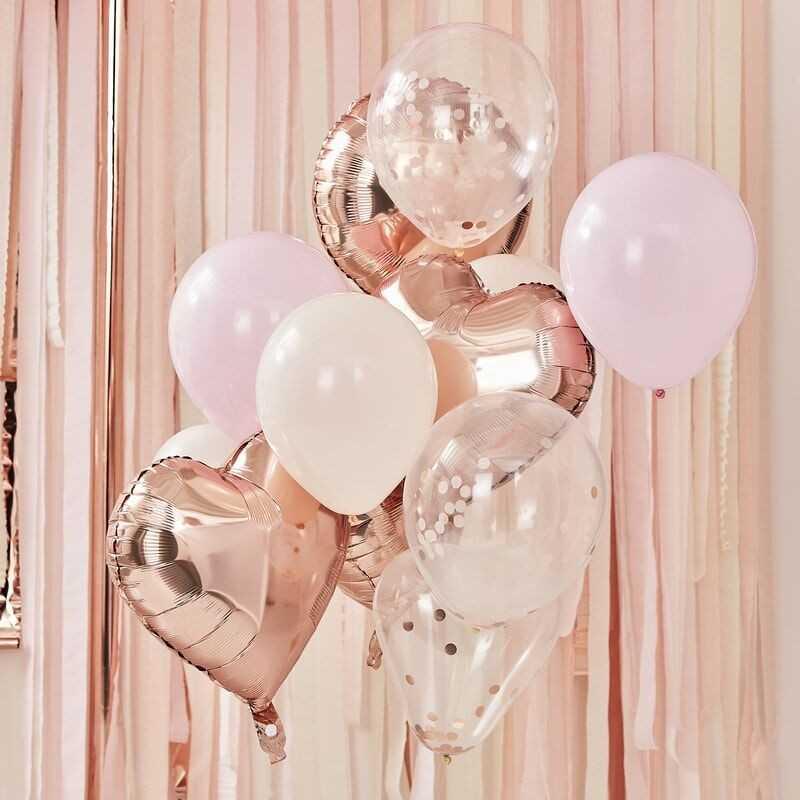 Ballon Mix - Rose Guld og Lyserøde