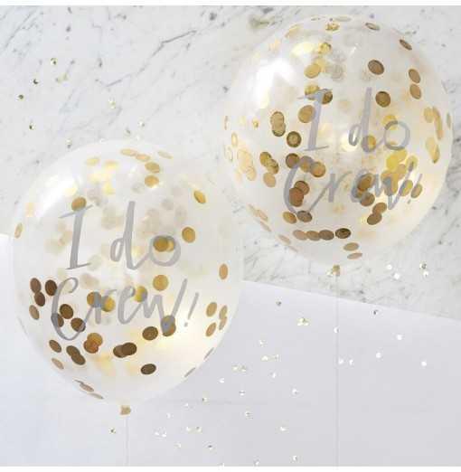 """I Do Crew"" Guld konfetti balloner Bryllup"
