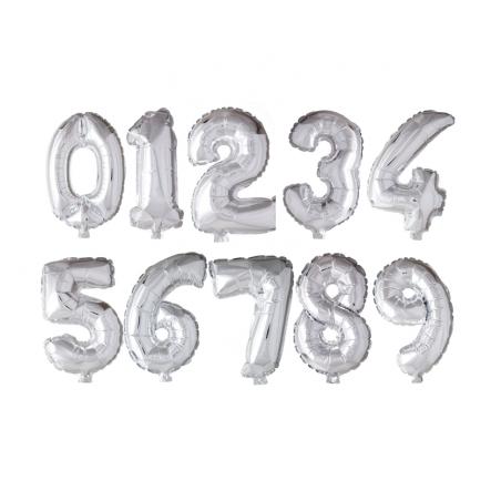 Kæmpe talballon Sølv - 1072