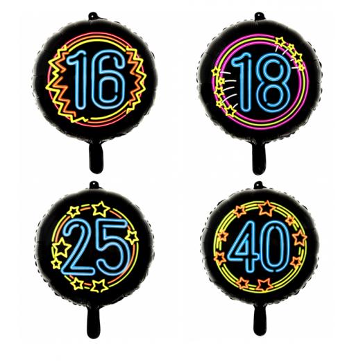 "Sort neon folie ballon 18"" Premium Balloner"