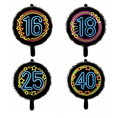 "Sort neon folie ballon 18"" - 1078"