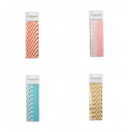 Sugerør i papir stribet 20 stk - 1081