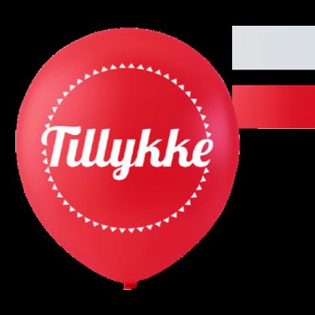 Balloner med Tillykke rød og hvid 10 stk. - 197
