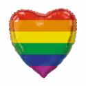 Kæmpe Hjerte folieballon regnbue 92 cm Hjerte Balloner