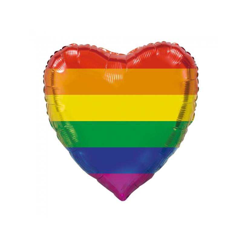 Kæmpe Hjerte folieballon regnbue 92 cm