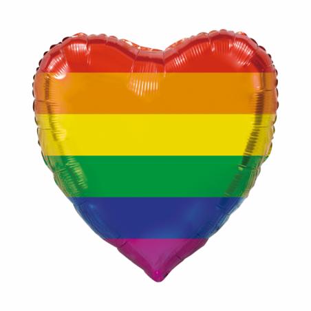 Kæmpe Hjerte folieballon regnbue 92 cm - 296