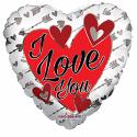 I Love You folieballon - solv/rod Hjerte Balloner
