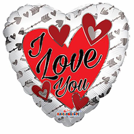 I Love You folieballon - solv/rod - 543