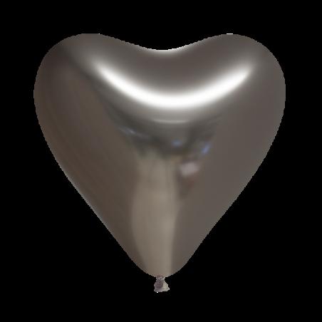 """Hjerteballoner 12"""" chrome 100 stk - 591"""