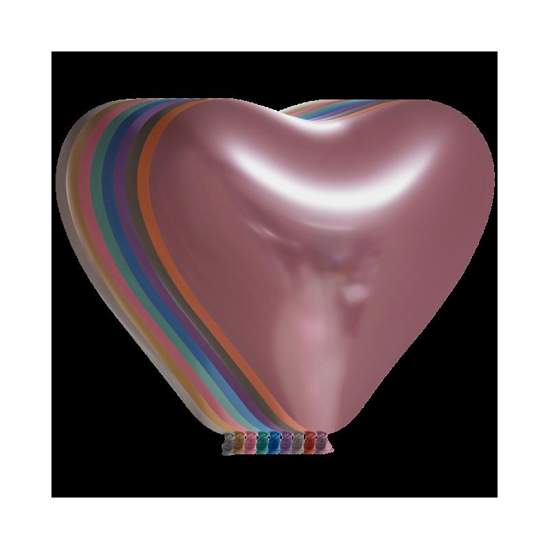 """Hjerteballoner 12"""" chrome 100 stk"""