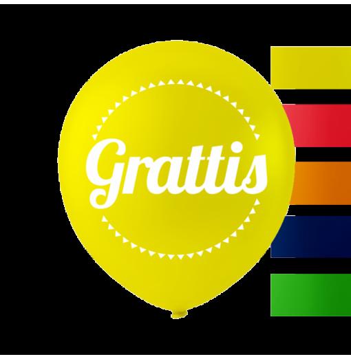 """""""Grattis"""" balloner 10'' 10 stk"""