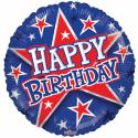 "Happy Birthday 18"" blåt og rødt Fødselsdag"