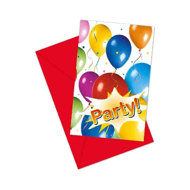 Invitationer med balloner og fest Invitationer