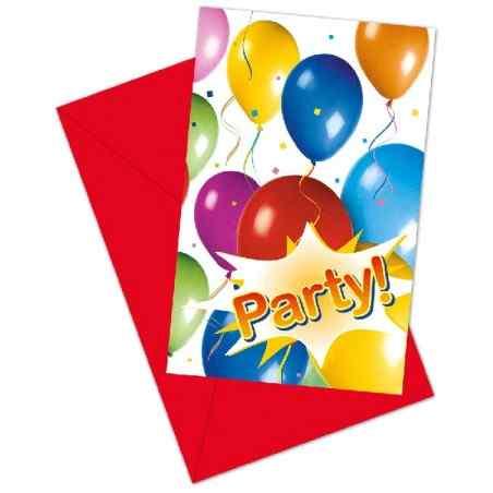 Invitationer med balloner og fest - 769
