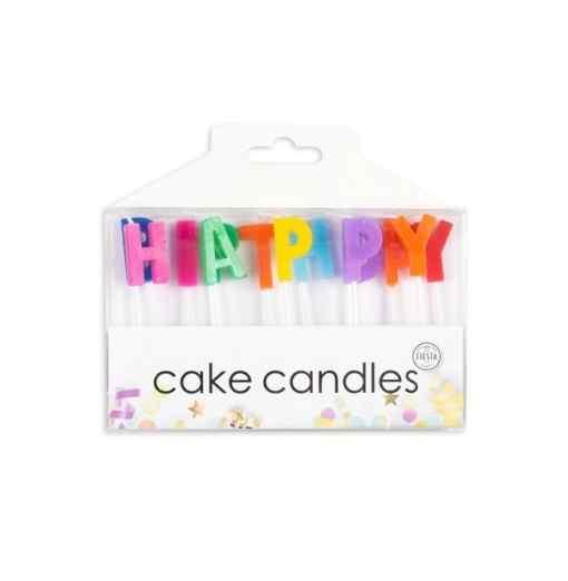 Kagelys med Happy birthday bogstaver