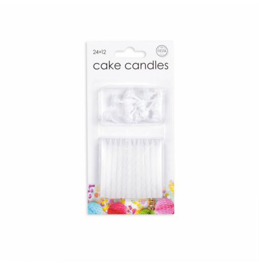 24 kagelys i hvide Lys til kagen