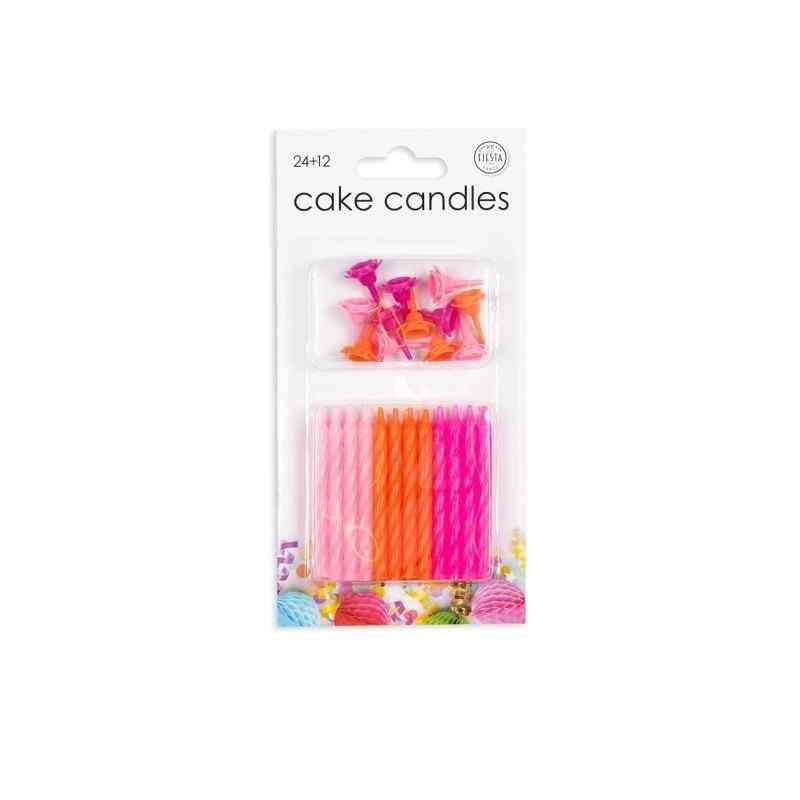 24 kagelys i lyserøde Lys til kagen