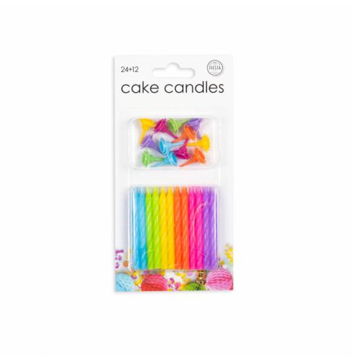 24 kagelys i blandede farver Lys til kagen