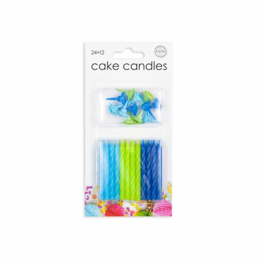 24 kagelys i blå farver Lys til kagen