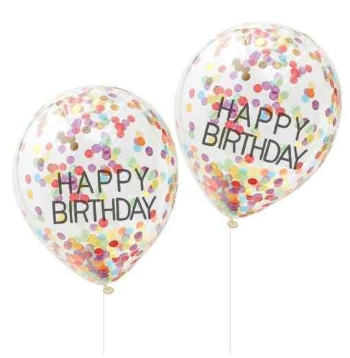 """Happy Birthday"" Regnbue Konfetti Balloner Fødselsdag"