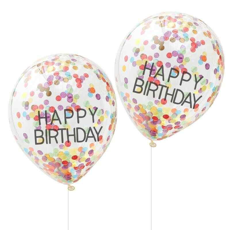 """Happy Birthday"" Regnbue Konfetti Balloner"