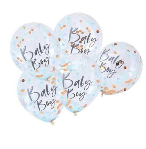 """""""Baby Boy"""" Blå/Guld Konfetti Ballon Baby"""