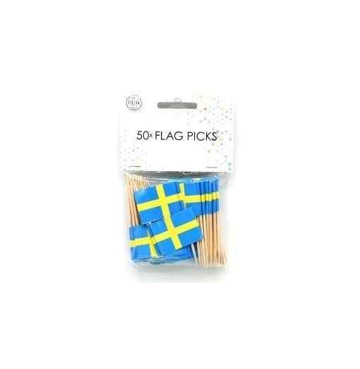 50 små flag - Sverige Lys til kagen