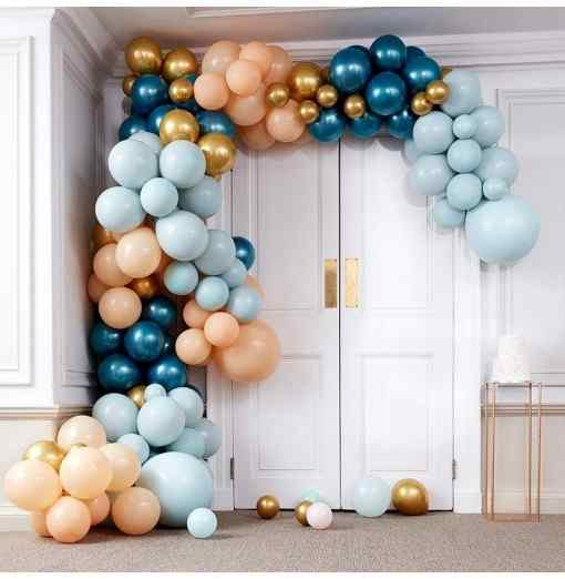 Stor Luksus Ballonbue - Blå/Guld Ballon Buer