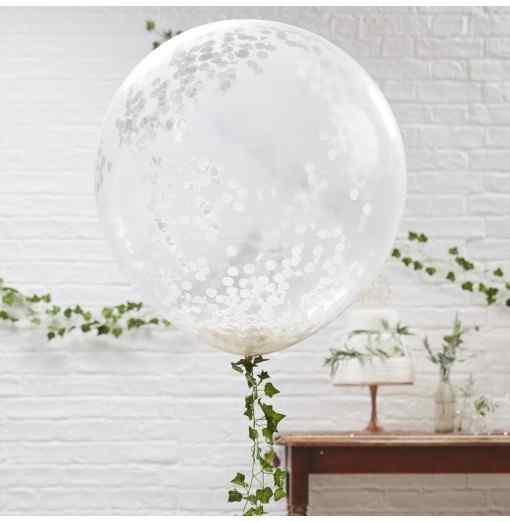 Mega Konfetti Ballon - Gennemsigtig/Hvid Bryllup