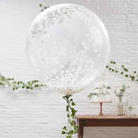 Mega Konfetti Ballon - Gennemsigtig/Hvid - 904