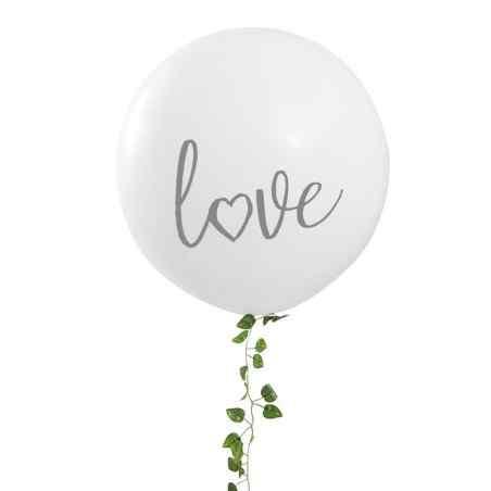 """Love"" Mega Ballon - Hvid/Sølv - 909"
