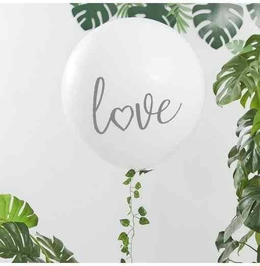 """Love"" Mega Ballon - Hvid/Sølv Bryllup"