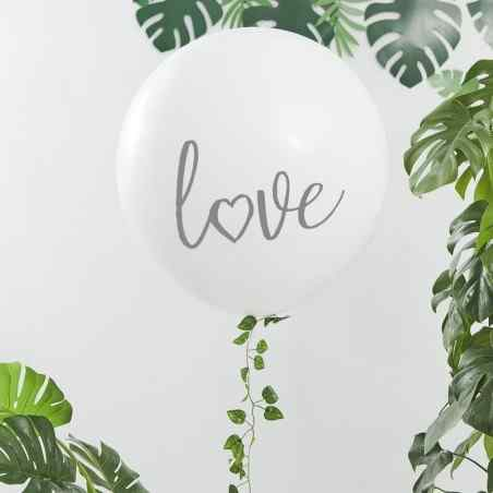 """Love"" Mega Ballon - Hvid/Sølv - 910"