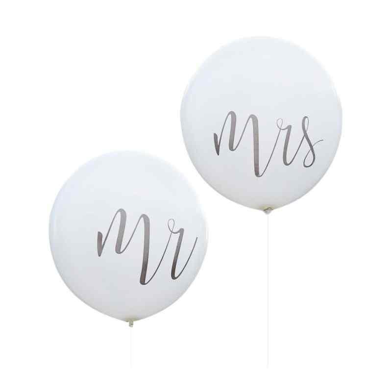 Mr & Mrs - Mega Balloner - Sølv
