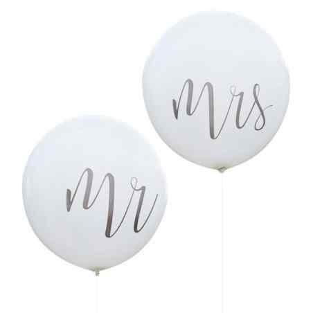 Mr & Mrs - Mega Balloner - Sølv - 911