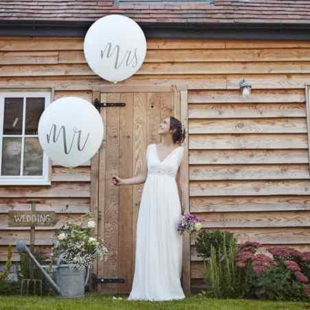 Mr & Mrs - Mega Balloner - Sølv - 912