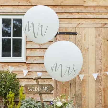 Mr & Mrs - Mega Balloner - Sølv - 913