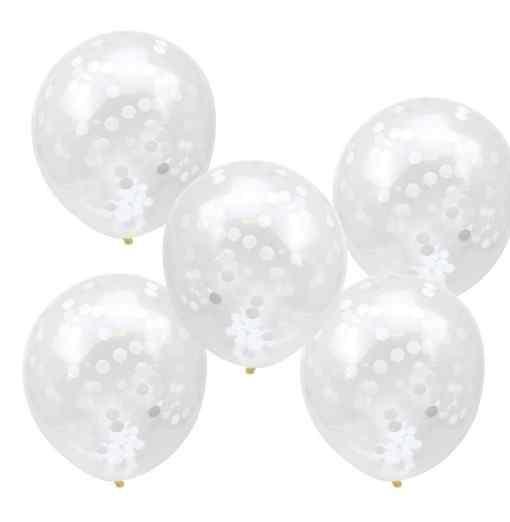 Konfetti Balloner - Gennemsigtige/Hvide Bryllup