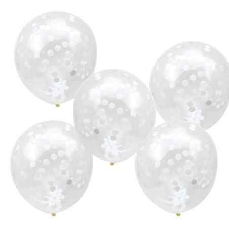 Konfetti Balloner - Gennemsigtige/Hvide - 914