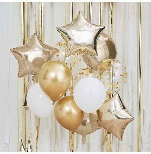 Ballon Mix - Guld og Hvide Balloner Ballon Mix