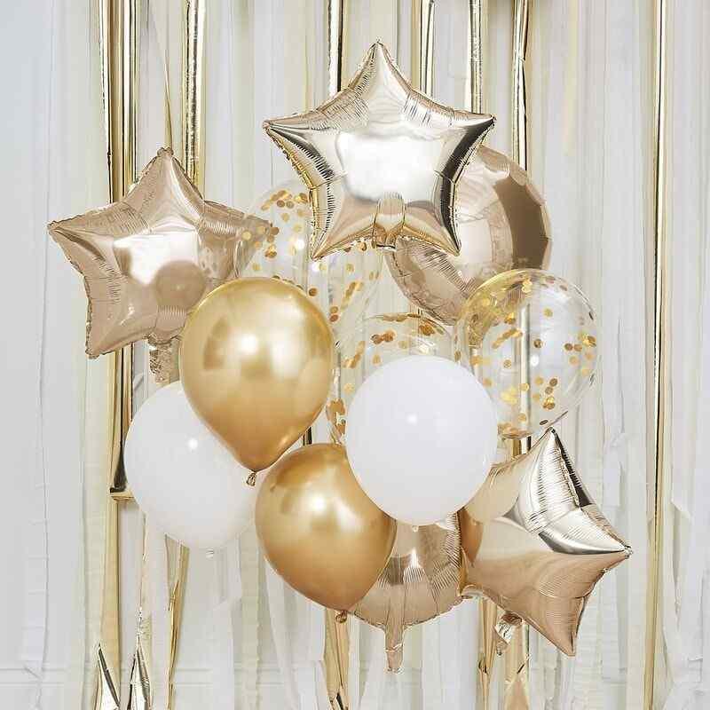 Ballon Mix - Guld og Hvide Balloner