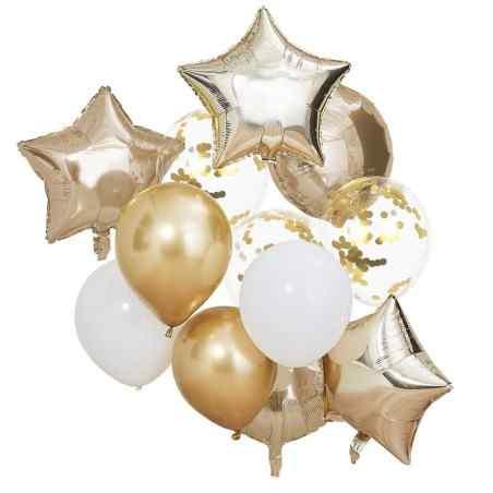 Ballon Mix - Guld og Hvide Balloner - 923