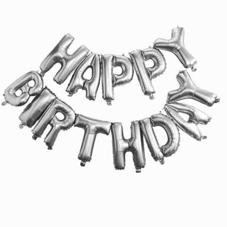 """""""Happy Birthday"""" Bogstaver - Sølv - 936"""