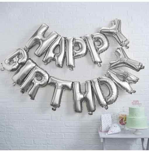 """""""Happy Birthday"""" Bogstaver - Sølv Fødselsdag"""