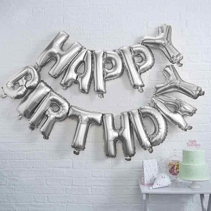 """""""Happy Birthday"""" Bogstaver - Sølv"""